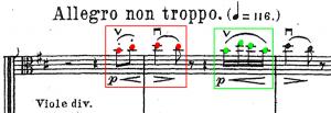 Piotr Ilitch Tchaïkovski, <em>Symphonie n<sup>o</sup>6</em> en <em>si</em> mineur (1893), «Allegro non troppo», p. 5 de la partition.