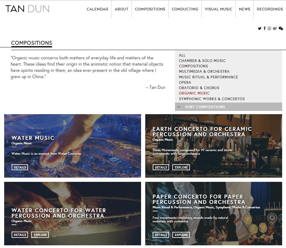 Figure 8: Sous-section «Organic Music» de la section «Composition» du site de Tan Dun (http://tandun.com/compositions/, consulté le 9décembre 2019).